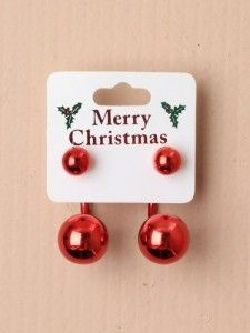 Pair Of Shiny Christmas Bauble Earrings Code 1592